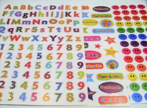 NEW-3-SHEETS-A4-250-FOIL-STICKERS-LETTERS-NUMBERS-WELL-DONE-SMILE-FACES-STFO
