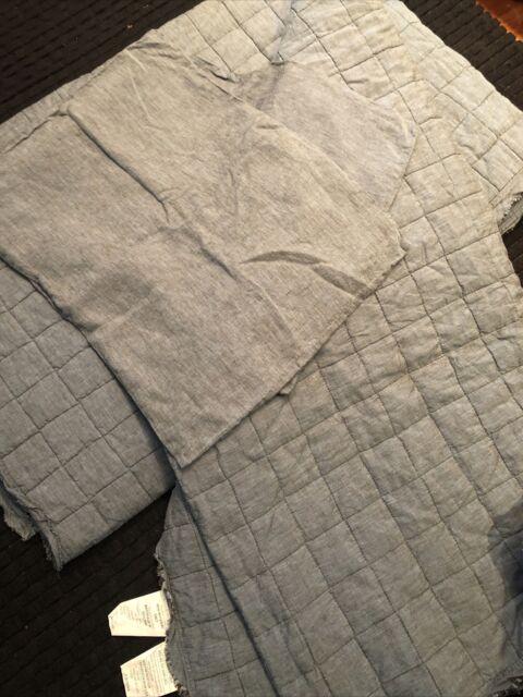 3pc Set West Elm linen quilt Comforter  King frayed edge Denim Blue + 2 Shams