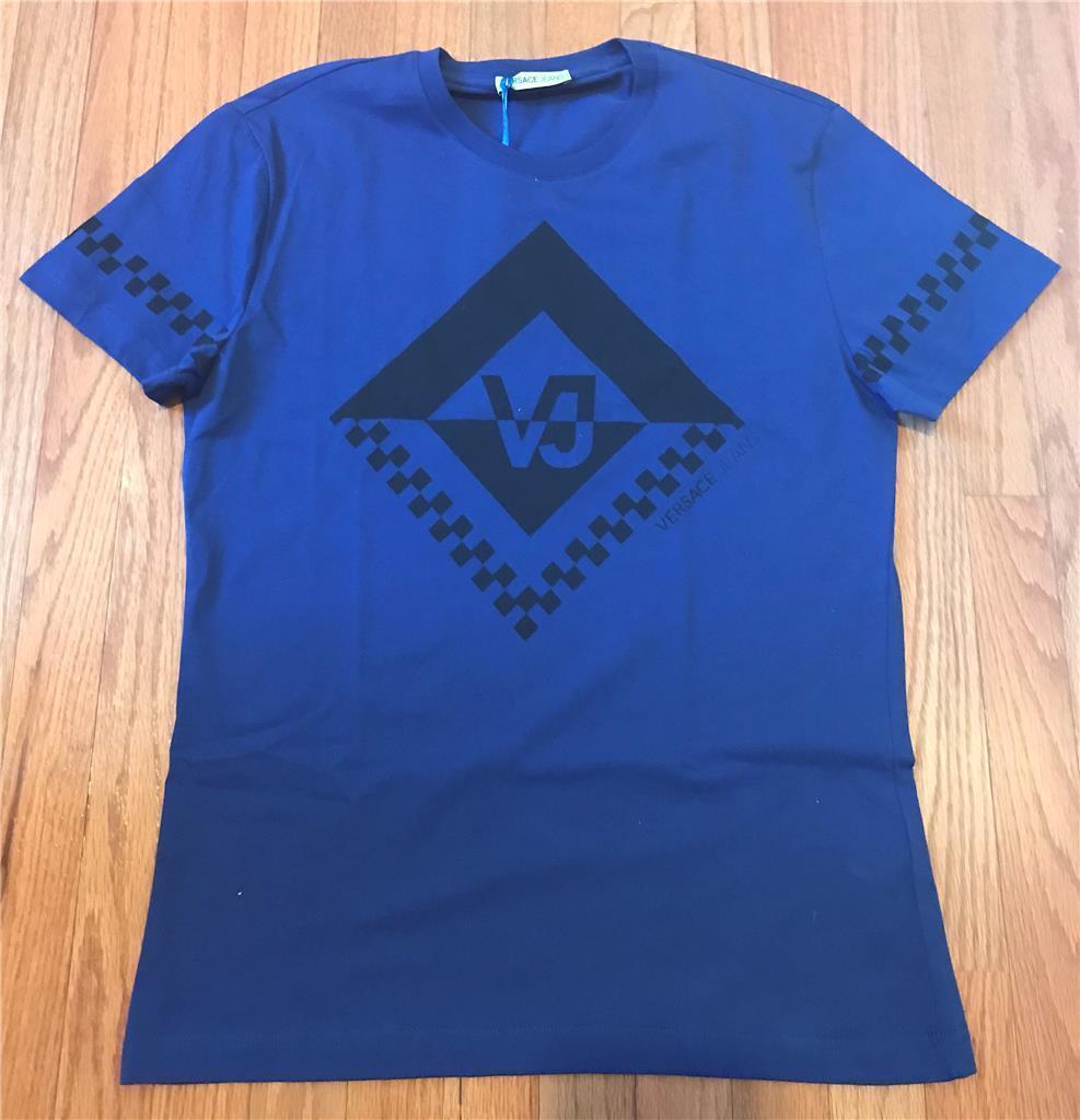 Herren Authentic Versace Jeans Logo Printed T-Shirt Blau Astral Medium 125