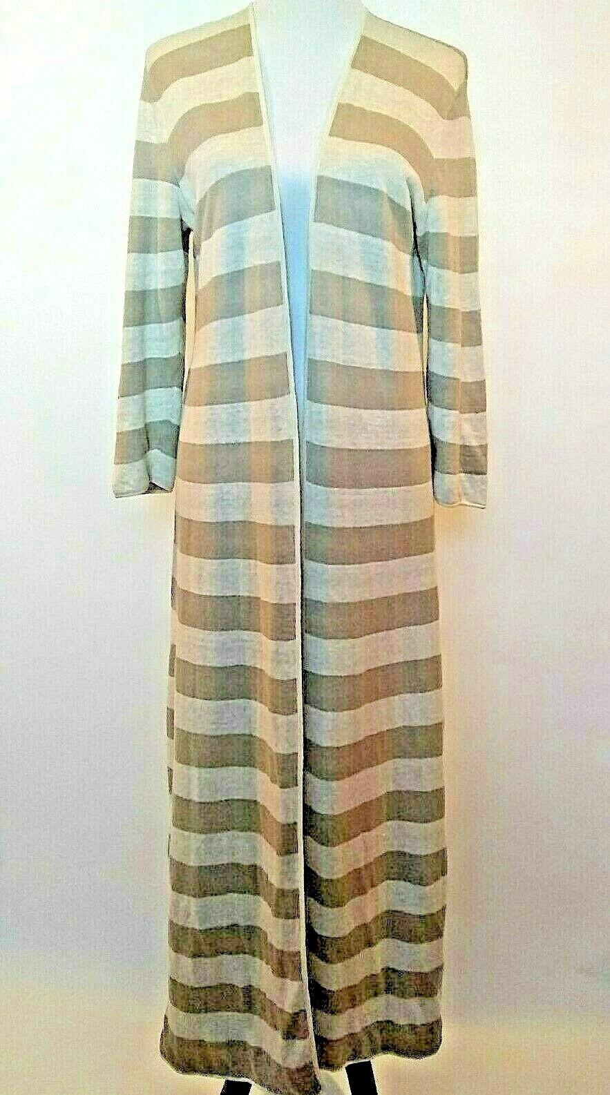 Garnet Hill Womens Brown Beige Striped Linen Open Front Duster Cardigan Medium