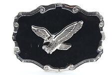 Men Western Belt Buckle Silver Metal Cowboy Flying American Eagle Bling Black