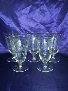 Vintage-Water-Wine-etched-glasses-Daisies-panel-set-of-5