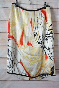 Solar-Skirt-Size-40-Medium-10-12-Red-Gold-Black-Satin-Pencil-Skirt