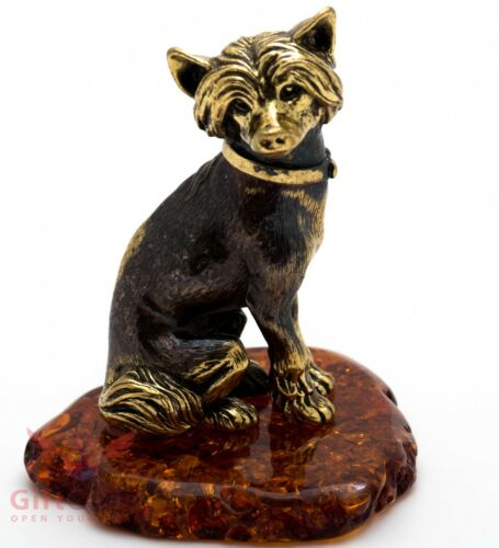 Solid Brass Amber Figurine of Chinese Crested dog IronWork