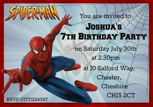 Image Is Loading 6 Personalised Spiderman Party Invitations With Envelopes