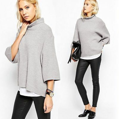 Fashion Women Casual Jumper Turtleneck Long Sleeve Pullover Tops Knitted Sweater