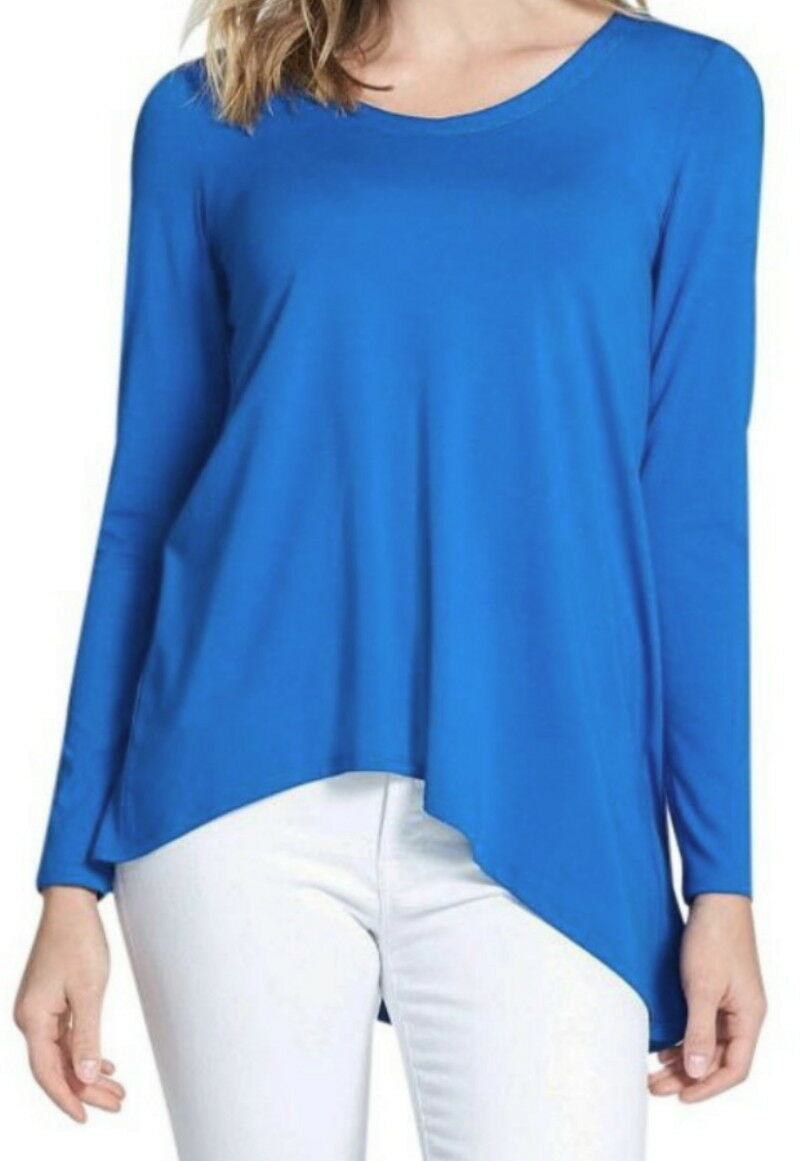 Eileen Fisher V-Neck Stretch Knit Top Small 6 8 Deep Blau Stretch Viscose