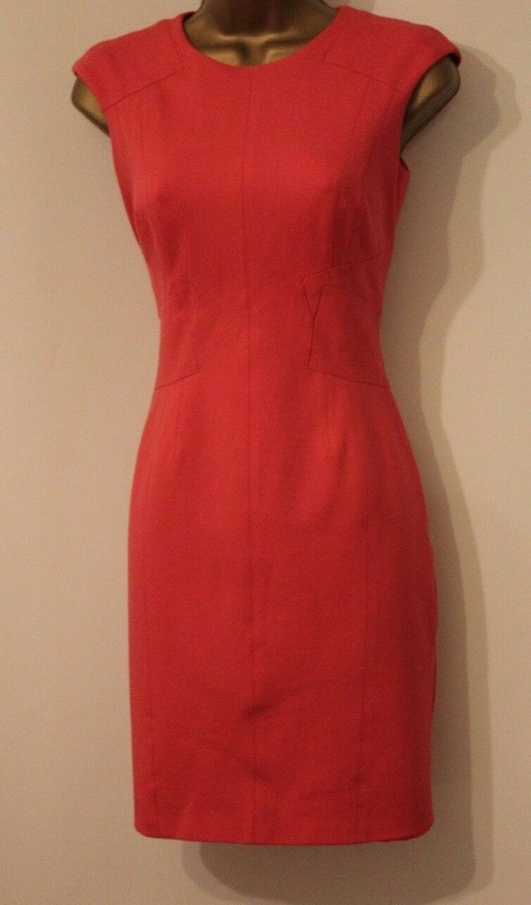 Karen Millen Colourful Pencil Fit Sporty Neon Pink Panel Party Cruise Dress 6 34