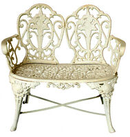 Incredible Outdoor Cast Iron Antique Cream Victorian Kimberley Bench Seat Chair