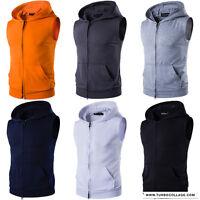 Men Cool Sleeveless Zipper up Fitness Top Sports Casual Hooded Vest Slim Outwear
