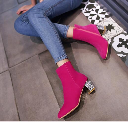 Stiefel stilett damenschuhe absatz 6 cm rosa komfortabel simil leder leder simil 8826 cc29d6