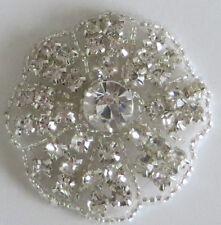 Flower Lace Applique iron on Bridal Dress Motif Silver Diamond Crystal Bead wedd