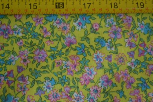 By 1//2 Yd Pink Green /& Blue Calico on Chartreuse Quilting Cotton N391