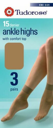 3 ankle highs 15 denier with comfort top.