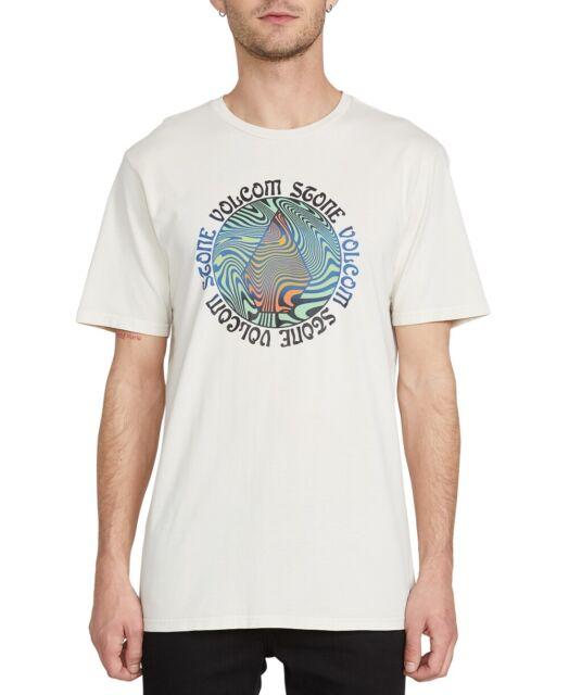 Volcom Mens T-Shirt White Ivory Size XL Graphic Tee Logo Swirl Printed $32 #293