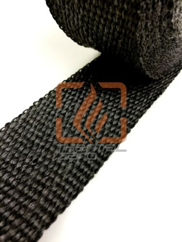 "BLACK FIBERGLASS WRAP EXHAUST HEADER PIPE THERMAL INSULATION TAPE 2/"" x 50 FOOT"
