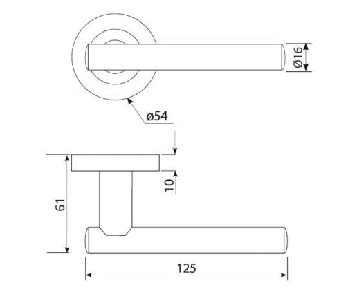 Polished Stainless Steel Internal Door Handles on Rose H730013P