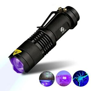 Portable UV Torch Ultra LED Zoom Flashlight Violet Purple Blacklight Lamp 365 nM