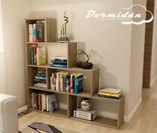 Libreria Estanteria en forma de escalera, diseño en blanco o roble.