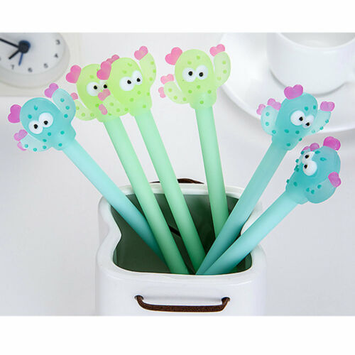 8pcs Cute Cartoon Funny Cactus Gel Ink Roller Ball Point Pen School Kids Pens