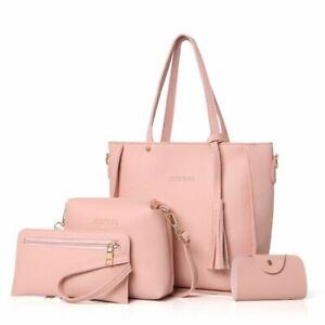 Big-Tassel-Handbag-Set-Women-Top-Handle-Shoulder-Purse-Faux-Leather-Crossbody