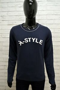Maglia-Uomo-A-STYLE-Maglietta-Taglia-M-Polo-Shirt-Man-Manica-Lunga-Cotone-Blu