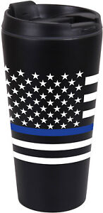Thin Blue Line Travel Coffee Mug Insulated Cup 16oz Black Thermos ... a59bcbf7741