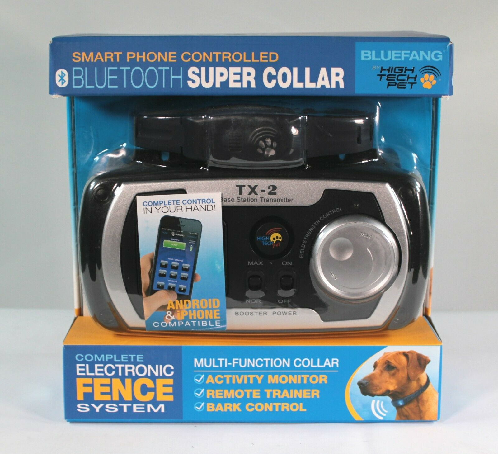 High Tech Pet Blaufang 4 in 1 Blautooth Super Collar Electronic Fence System