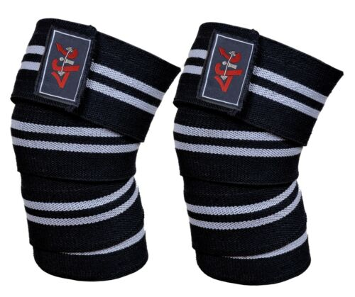 4Fit Power Lifter Weight Lifting Knee Wraps Supports Gym Training Straps 9 color