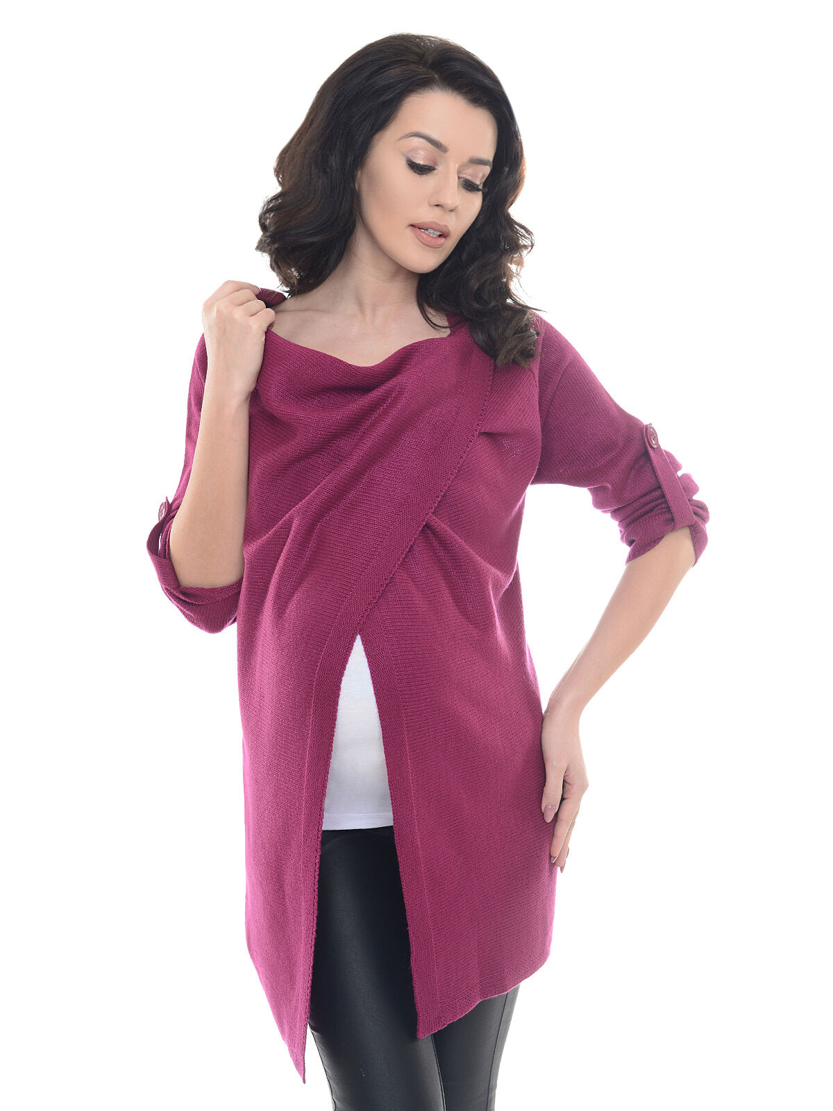 914db361b0 Purpless Maternity 2 in 1 Pregnancy and Nursing Sweater Cardigan Coat B9005  Dark Pink 12 14 for sale online