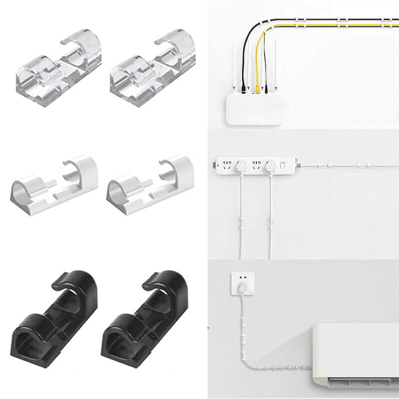 20Pc Self Stick Wire Organizer Line Cable Clip Buckle Clips Clamp Table Fixer ZH