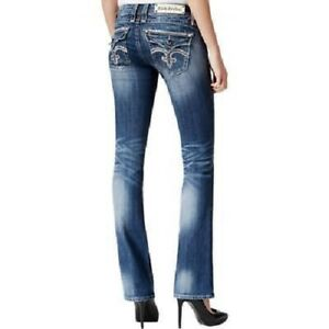 43d5c996db7 Rock Revival Women's Embellished Bootcut Blue Denim Jeans Pants 24 ...