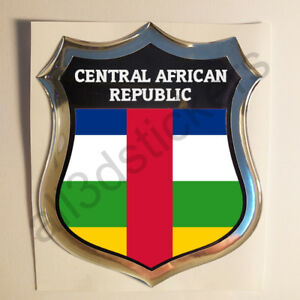 Pegatina-Republica-Centroafricana-3D-Escudo-Emblema-Relieve-Adhesivo-Resina