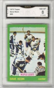 1973-74-Topps-85-Dave-Keon-Graded-NM-MT-Toronto-Maple-Leafs