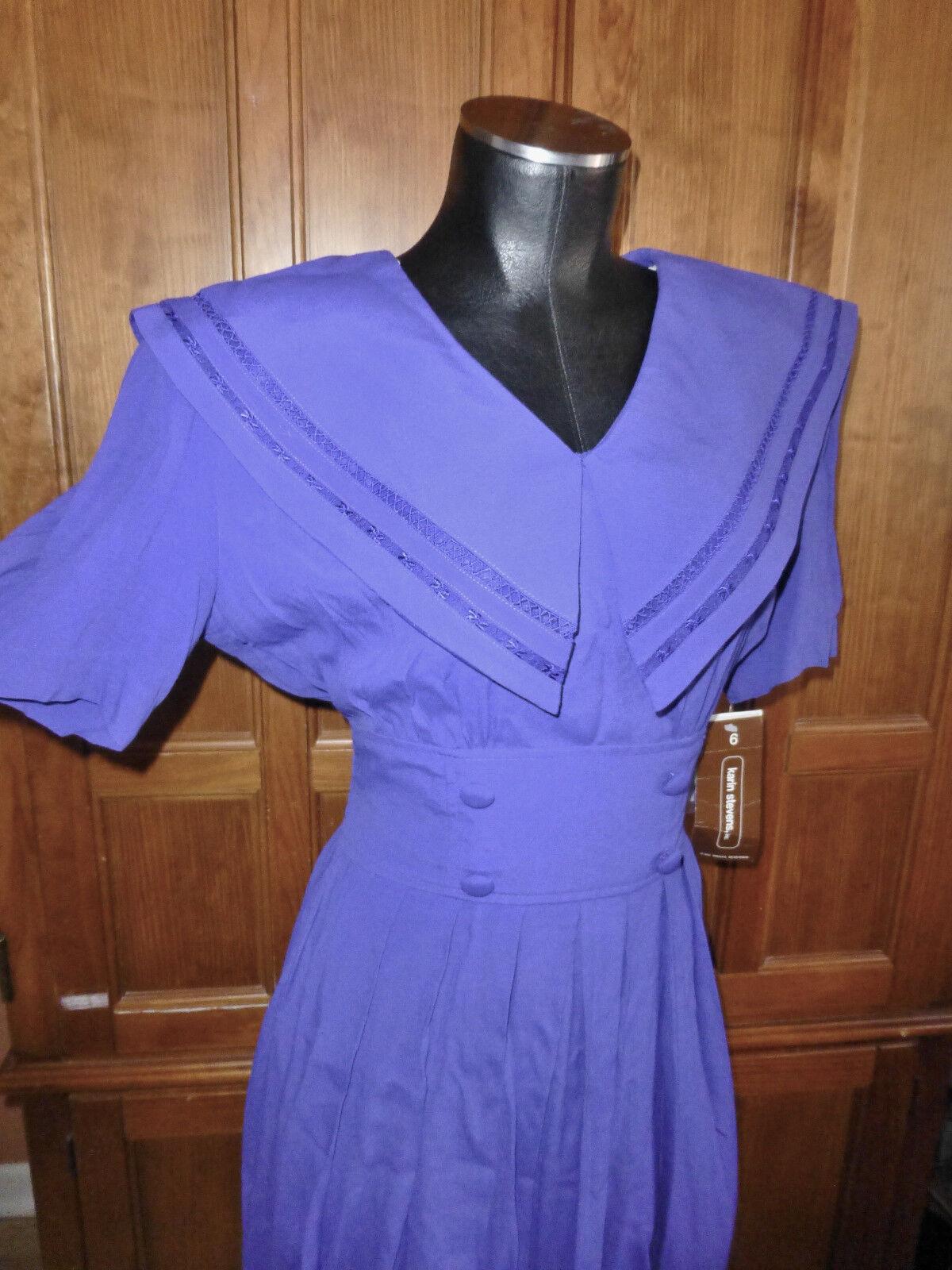 NOS Vtg 80s on 40s Karin Stevens Saylor Collar lila Tea Party Midi DRESS NEW