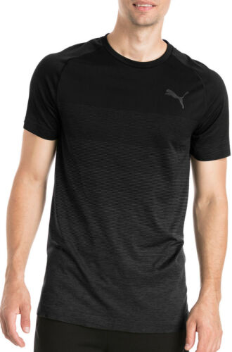 Black Puma Evostripe EvoKnit Mens Short Sleeve Training Top