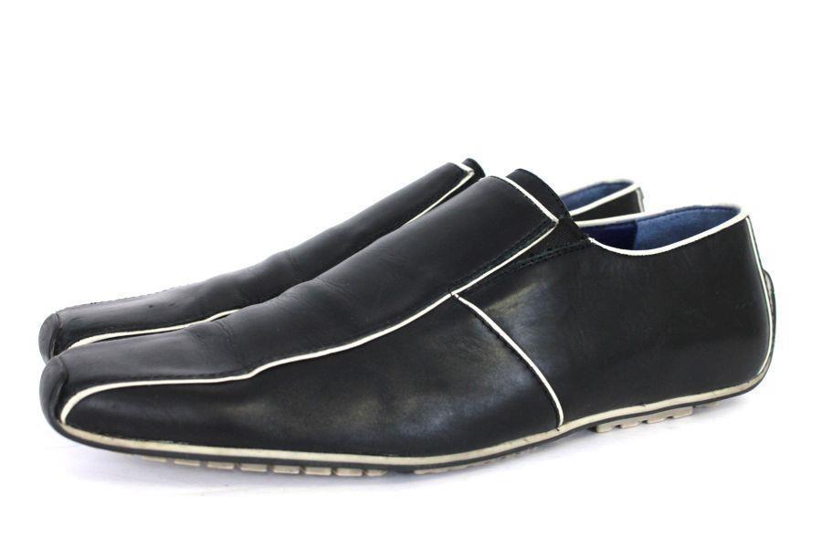 Mens schwarz Weiß KENZO slip slip slip on casual dress loafers modern designer 7.5 M 40c02a