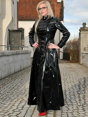 Lackmantel Lack Mantel Schwarz Glänzend Bodenlang Vinyl Maßanfertigung