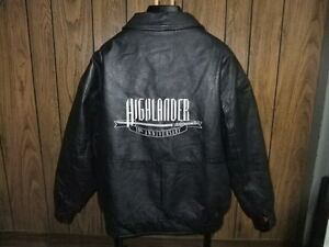 Highlander-Mens-leather-jacket-coat-10th-Anniversary-XL-The-Movie-black-1996