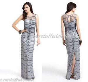 NWT $475 Aidan Mattox Illusion Neck Beaded Gown Silver Gray 8 | eBay