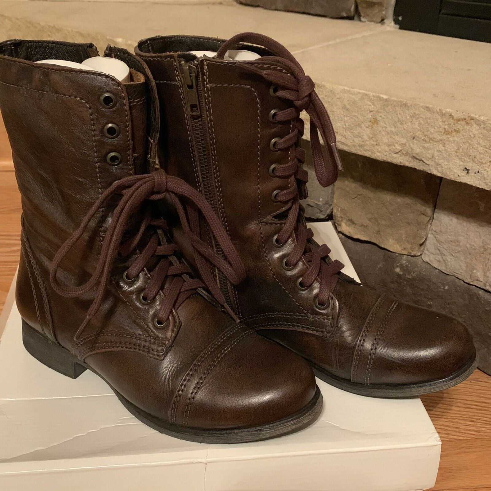 Steve Madden Troopa Brown Combat Boots Size 7