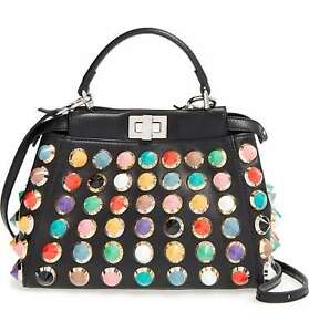 901beda9 Details about FENDI Peekaboo Mini Studded Satchel Bag, Black/Multicolor  with Receipt *Runway
