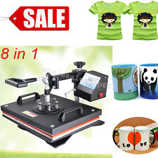 8in1 Transfer Sublimation T-Shirt Mug Hat Cap Heat Press Printing Machine Good