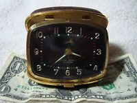 Vintage Bradley Seven Jewels Travel Alarm Clock Working Nice Germany