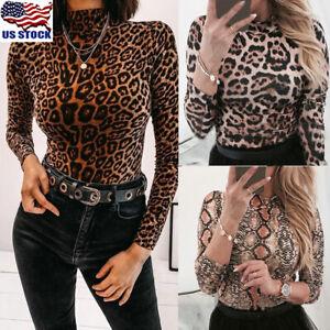 US-Womens-Leopard-Summer-Long-Sleeve-Turtleneck-Tops-Casual-Shirt-Blouse-T-shirt