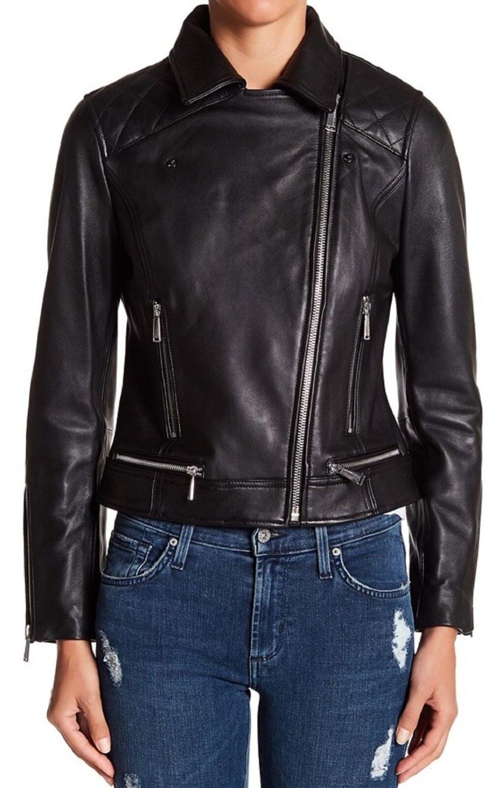 BCBGeneration Women's Medium Asymmetrical Zip Lamb Black Leather Jacket NEW!!