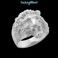 Men's Lion Head Sterling Silver Ring Large
