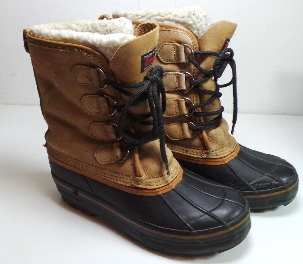 Men's Grizzly Invierno botas De Nieve Cuero Tostado Thermolite insolated Fieltro