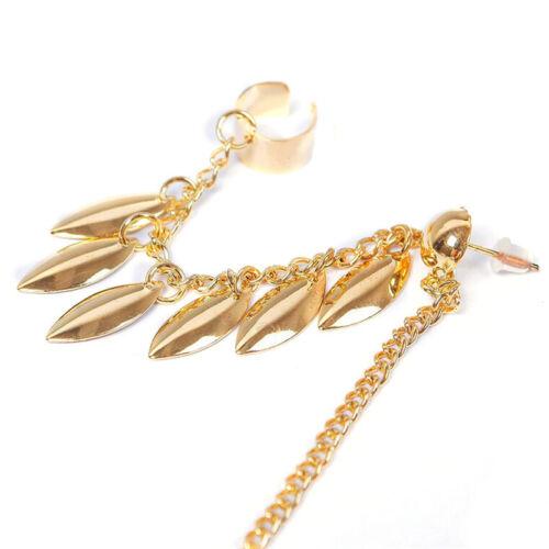 1 Pc Leaf Tassel Chain Ear Cuff Gothic Punk Ear Clip Earring Women Jewelry ER