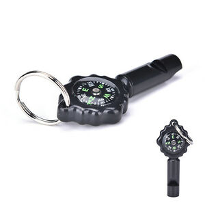 Black-Mini-Survival-Tool-Whistle-Compass-2-in1-new-hot-selling